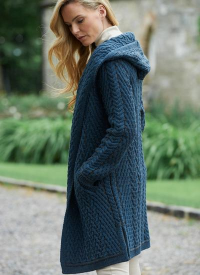 Eimear Aran Cable Knit Hooded Cardigan