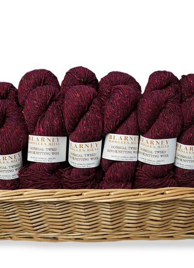 Aran Handknitting Wool Tweed Plum Pack Of 12