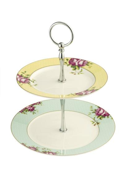 Archive Rose Two-Tier Cake Stand