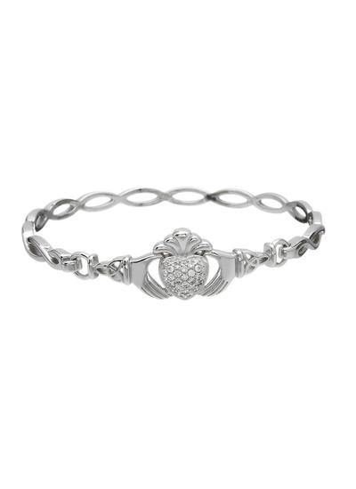 Sterling Silver Claddagh Pave Set Bangle