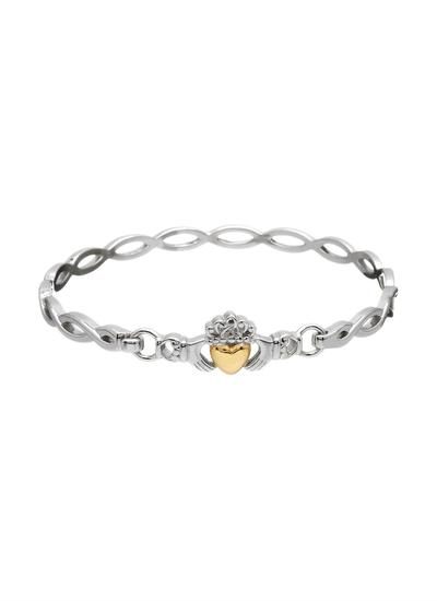 Sterling Silver & 10K Gold Claddagh Bangle