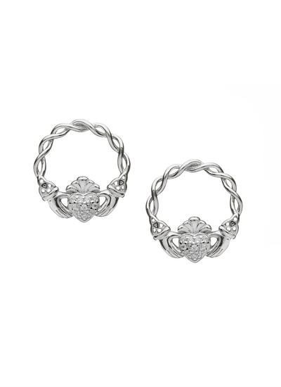 Sterling Silver Pave Set Claddagh Stud Earrings