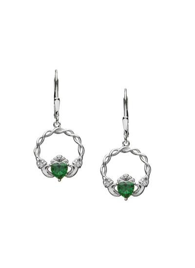Sterling Silver Green Stone Claddagh Drop Earrings