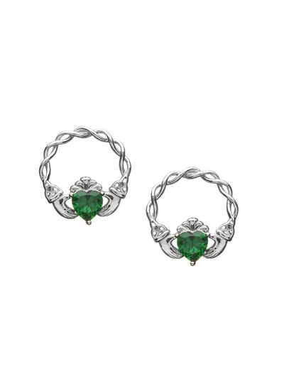 Sterling Silver Green Stone Claddagh Stud Earrings