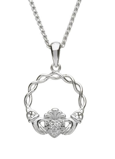 Sterling Silver Pave Set Claddagh Pendant