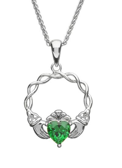Sterling Silver Green Stone Claddagh Pendant