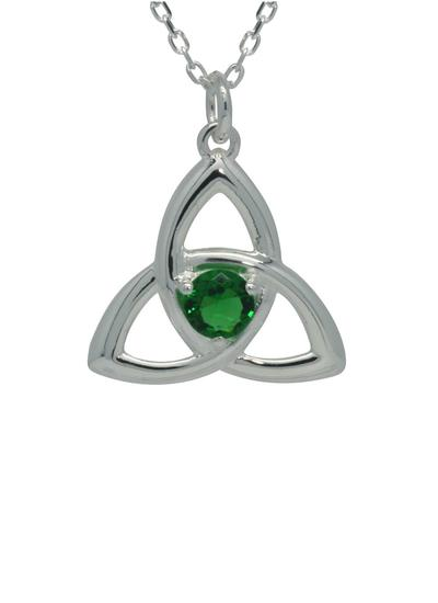 Sterling Silver Green Trinity Knot Pendant
