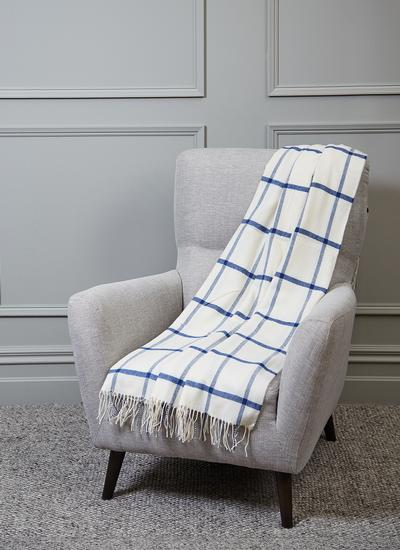 Blarney Blue Windowpane Lambswool Throw