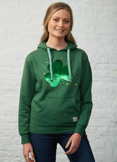 Blarney Exclusive Reversible Sequin Shamrock Hoodie