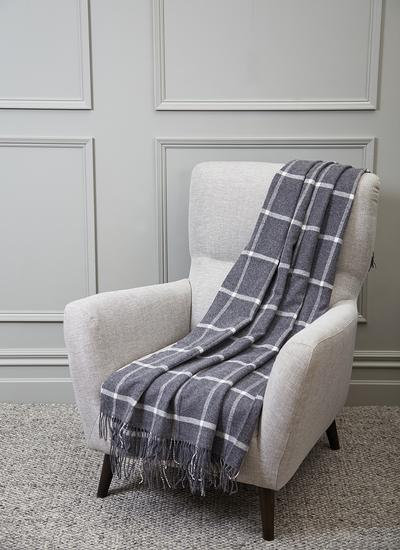 Blarney Grey Windowpane Throw