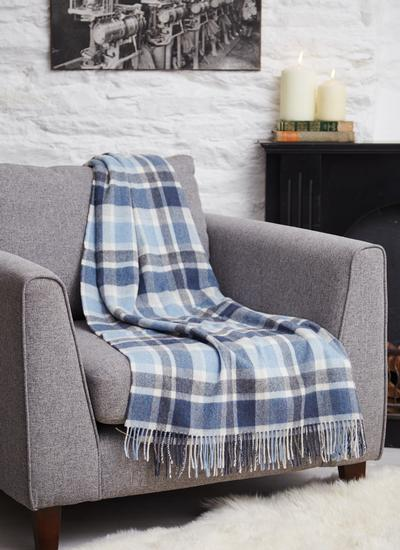 Blarney Blue Lambswool Throw