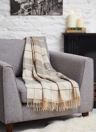 Blarney Fawn & Grey Lambswool Throw
