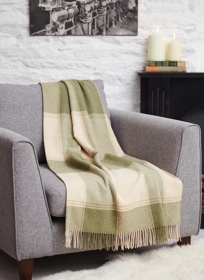 Blarney Green & Camel Lambswool Throw