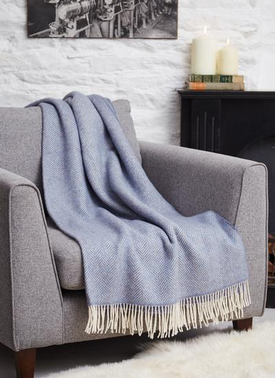Blue Herringbone Wool Cashmere Throw
