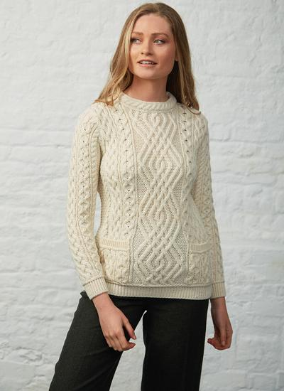 Aran Cable Crew Neck Sweater With Pockets