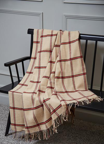 Camel & Orange Windowpane Check Lambswool Throw