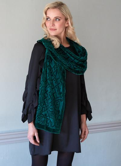 Celtic Burn Out Velour Scarf - Green