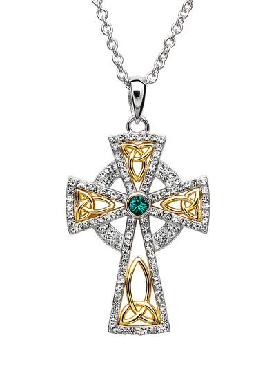 Celtic Cross Gold Plated Pendant Embellished With Swarovski Crystals