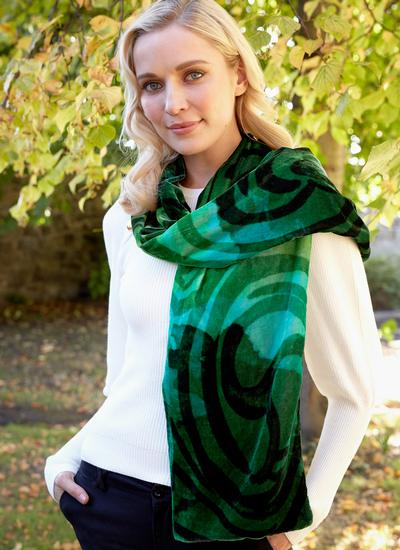 Celtic Swirl Double Velour Scarf - Green