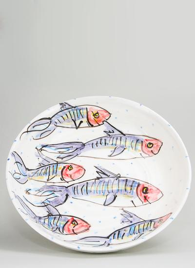 Mackerel Large Flat Bowl