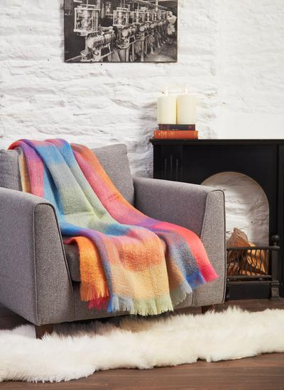 Color Block Mohair Wool Throw