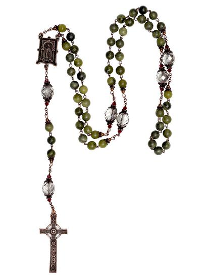 Connemara Marble Book of Kells Rosary Beads