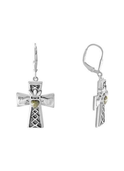 Connemara Marble Claddagh Cross Earrings