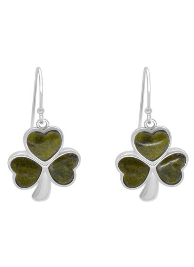 Connemara Marble Shamrock Inlaid Earrings