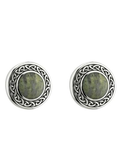 Connemara Marble Celtic Round Stud Earrings