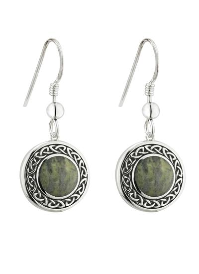 Connemara Marble Round Celtic Drop Earrings