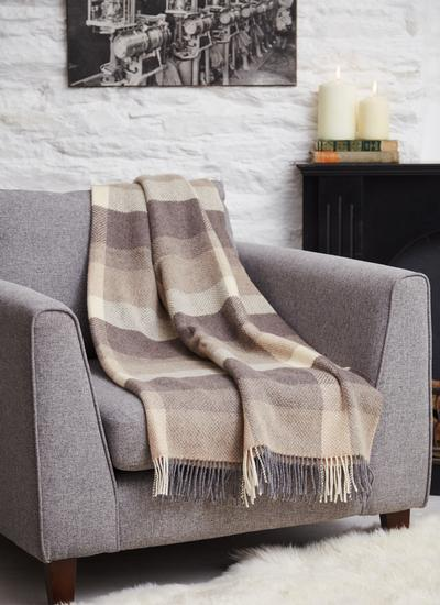 Country Brown Wool Cashmere Throw
