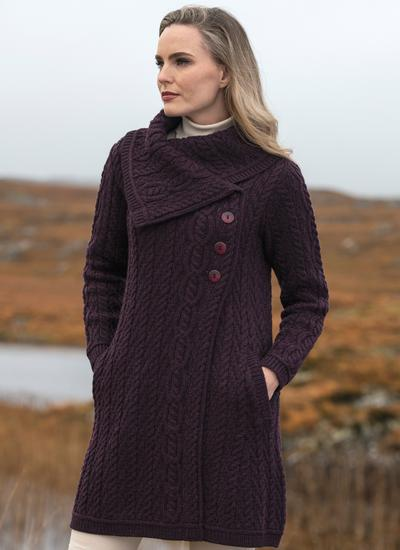 Deirdre Aran Oversized Collar Coatigan