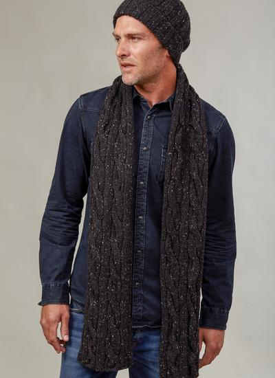 Fisherman Donegal Fleck Beanie & Scarf Set - Black