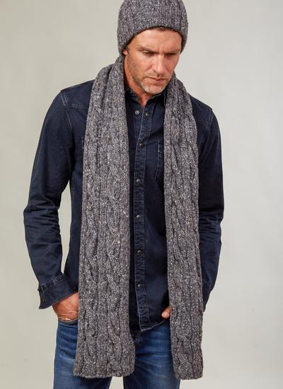 Fisherman Donegal Fleck Beanie & Scarf Set - Dark Grey