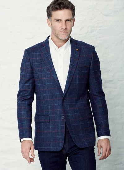 Donegal Tweed Blue Check Jacket - Long
