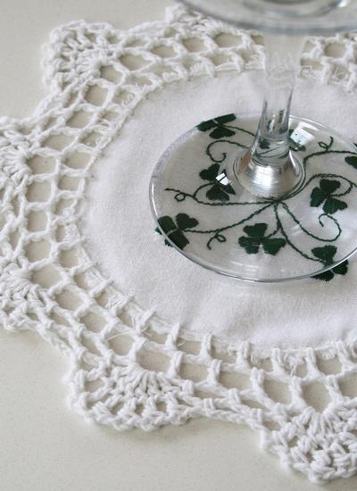 Embroidered Shamrock Crochet Coasters Set of 4