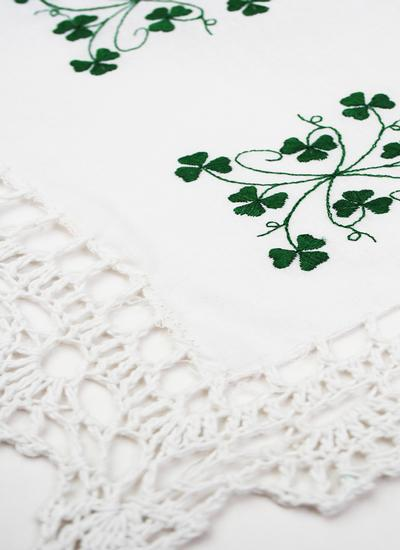Embroidered Shamrock Crochet Placemats Set of 6