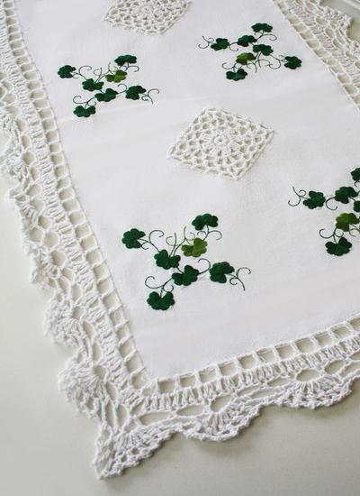 Embroidered Shamrock Crochet Table Runner