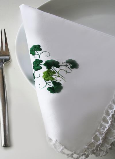 Embroidered Shamrock Crochet Napkins Set of 4