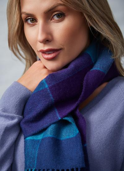 Extra Fine Merino Wool Scarf Blue & Purple