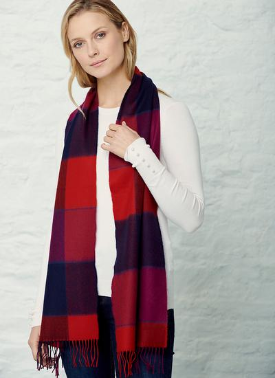 Extra Fine Merino Wool Scarf Red & Navy Block Check