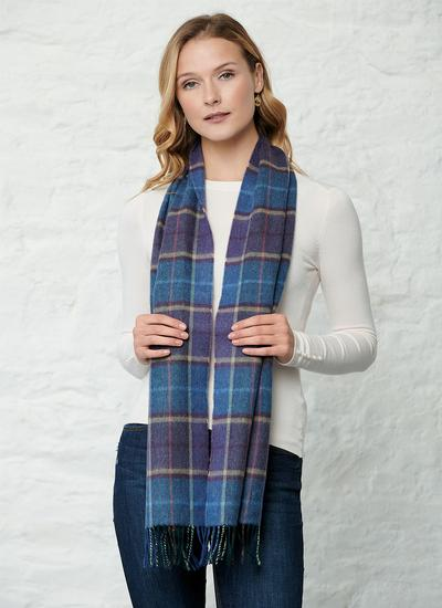 Extra Fine Merino Wool Scarf Winter Check