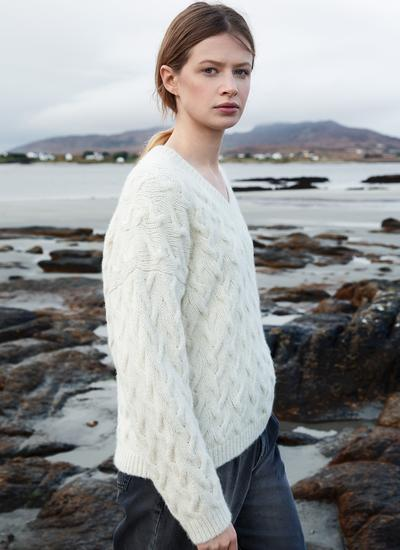 Fisherman Plait Cable V-Neck Sweater