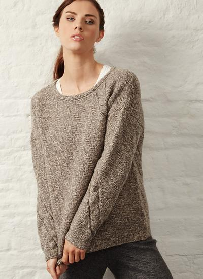 Fisherman Boat Neck Diagonal Cable Sweater