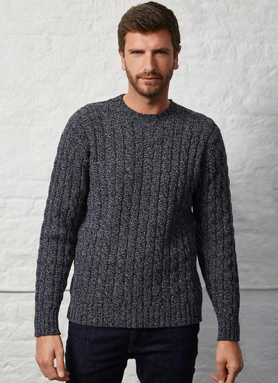 Fisherman Cabled Crew Neck Sweater