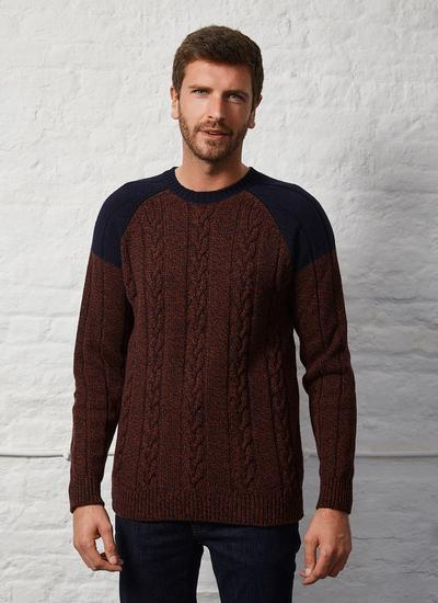 Fisherman Contrast Crew Neck Sweater