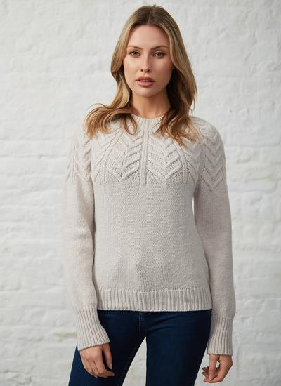 Fisherman Extra Fine Merino Wool Yoke Cabled Sweater