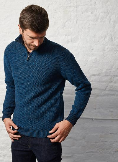 Fisherman Lambswool Seed Stitch Zip Neck Sweater