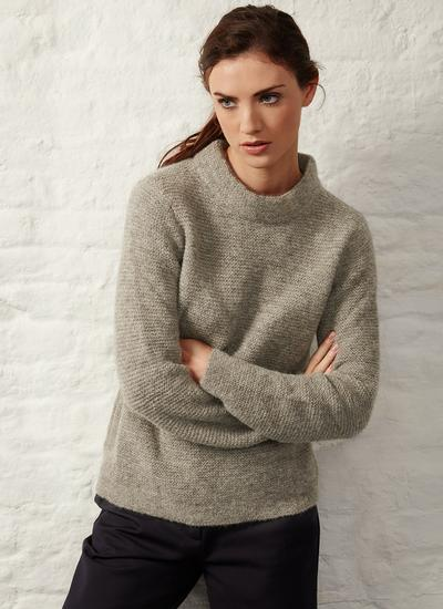 Fisherman Links Stitch Mock Neck Sweater