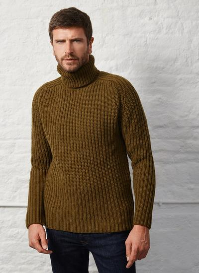 Fisherman Rib Chunky Polo Neck Sweater
